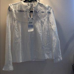 Zara white eyelet blouse NWT